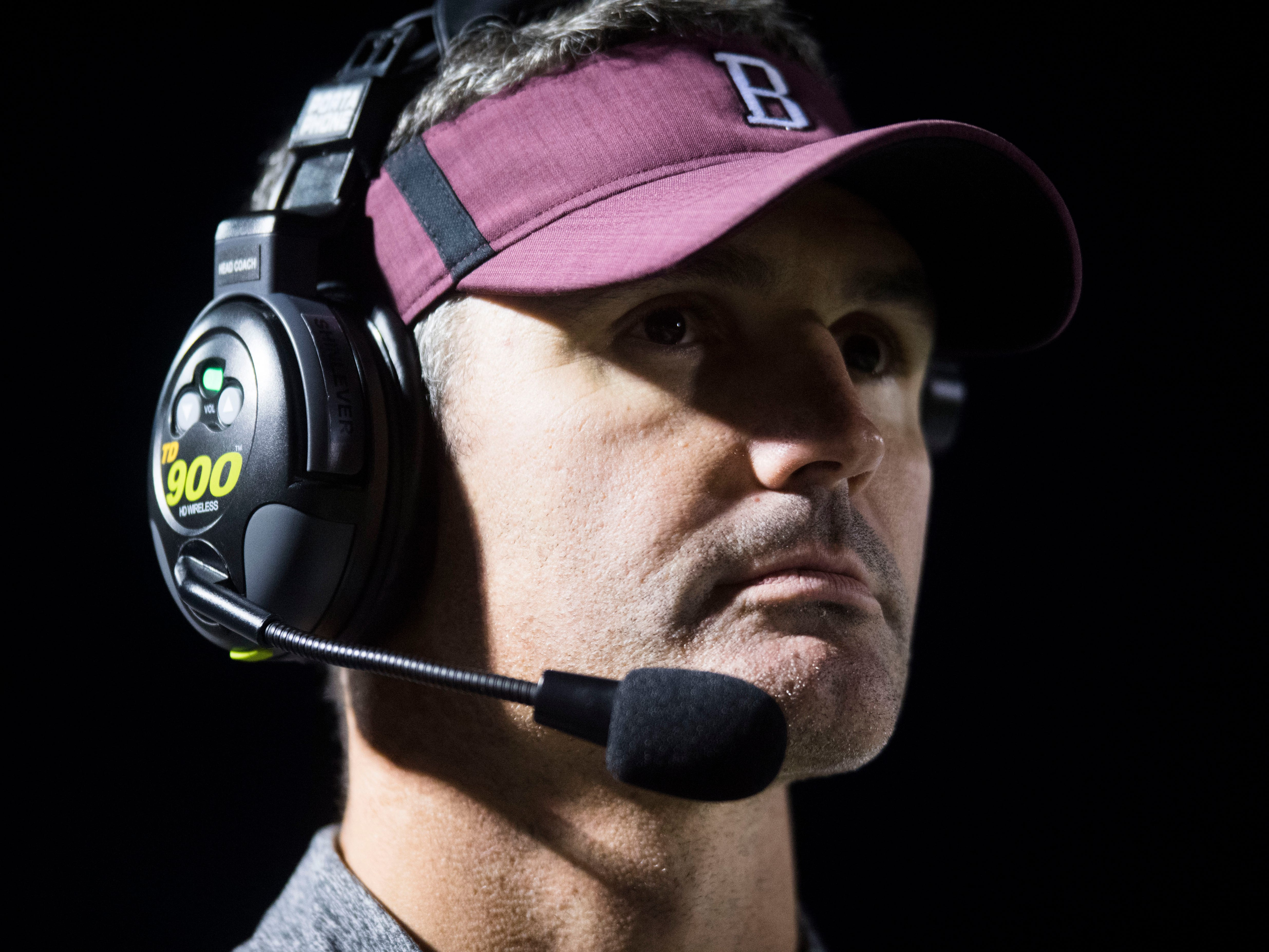 Bearden's head coach Morgan Shinlever watches during a game between Bearden and Farragut at Bearden Thursday, Oct. 11, 2018. Bearden took down Farragut 17-13.