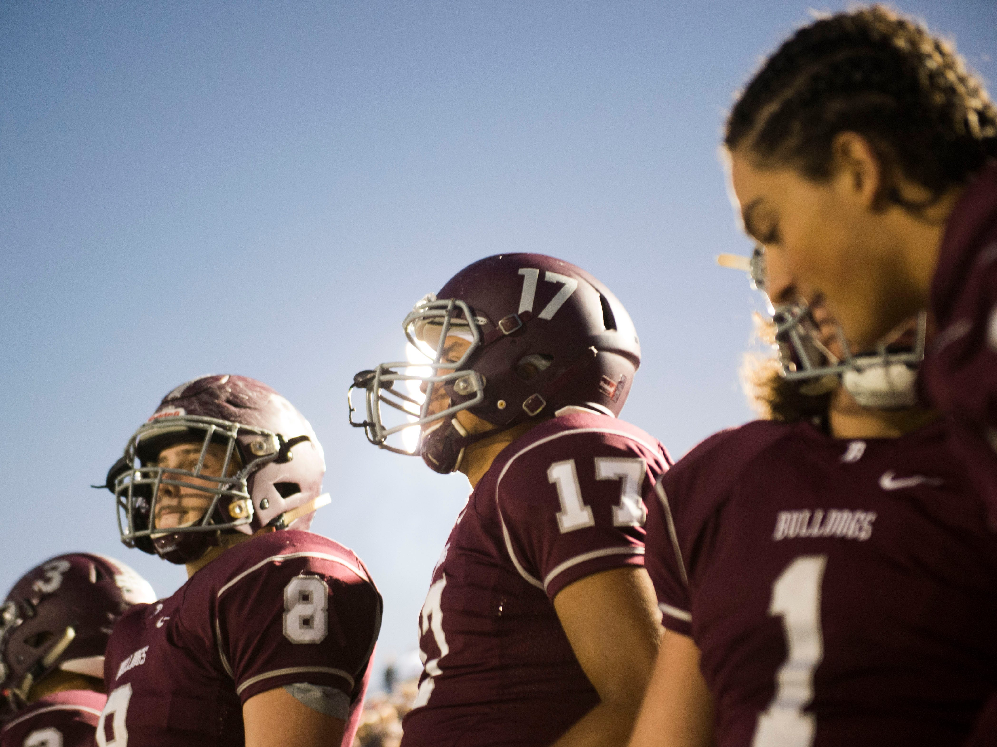 Bearden players stand on the sidelines during a game between Bearden and Farragut at Bearden Thursday, Oct. 11, 2018. Bearden took down Farragut 17-13.