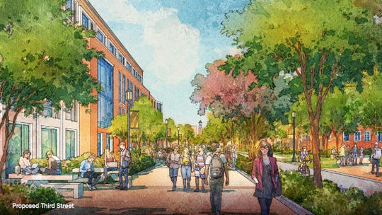 This sketch, from Purdue's new Giant Leaps Master Plan, envisions a look along a redesigned, pedestrian-friendly Third Street, looking east toward Purdue's main campus and the Purdue Bell Tower.