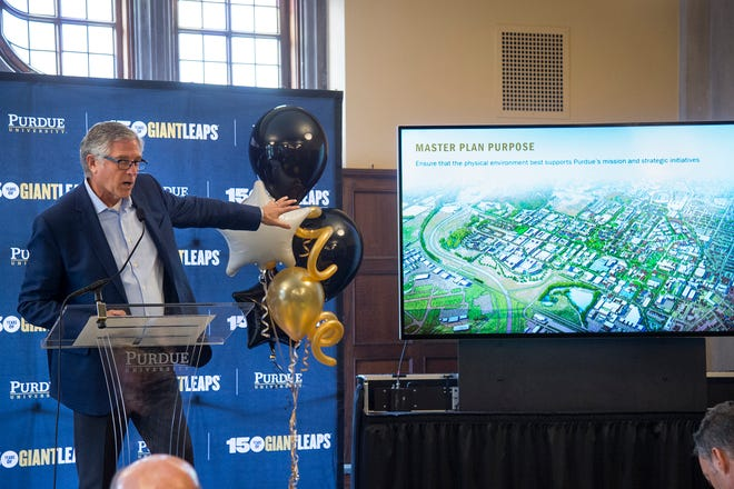 Adam Gross, principal of Ayers Saint Gross, on Friday provides an overview of the Giant Leaps Master Plan, a campus plan intended to guide renovations and construction over the next 50-years at Purdue University.