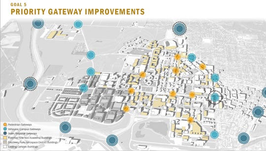 The Giant Leaps Master Plan calls for nearly two dozen gateways of various sizes at Purdue University and along the entrances to West Lafayette.