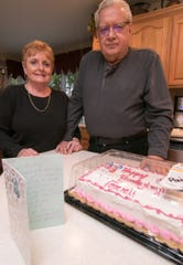 Sharon and Chuck Shaw, shown Friday, Oct. 12, 2018, were surprised to find that someone had already paid for the birthday cake for their daughter and left a note explaining their motivation.