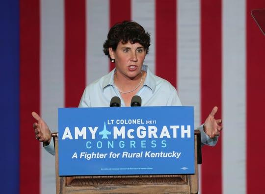 Congressional candidate Amy McGrath delivered a campaign speech during a event at the Bath County High School. Oct. 12, 2018