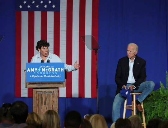 Amy McGrath was joined on stage by former Vice President Joe Biden at a rally in Kentucky in October.