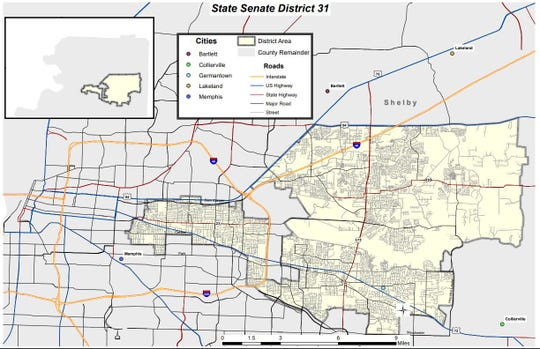 State Senate District 31 covers a big chunk of East Memphis within the I-240 loop, plus other areas including Cordova and Germantown.