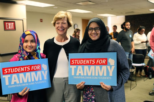 """U.S. Sen. Tammy Baldwin meets with members of """"Students for Tammy,"""" a coalition of Wisconsin students from around the state, at UW-Milwaukee's Student Union Sept. 28."""