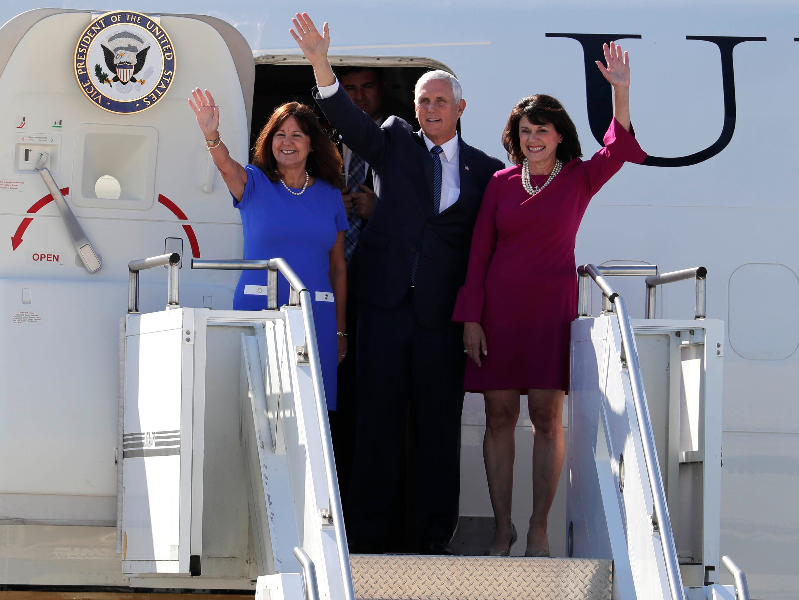 Vice President Mike Pence and his wife Karen (left) appear with Republican Senate candidate Leah Vukmir during a stop in Milwaukee Aug. 30.