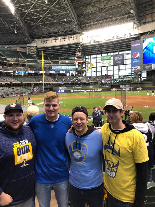 Mitchell Burtchart is the tall guy in this picture. He grew up coming to Brewers games. He's at the opening game of the NLCS on Oct. 12, 2018, with his friends (from left) Austin Vetta, Will Davis and Jake Heckel.