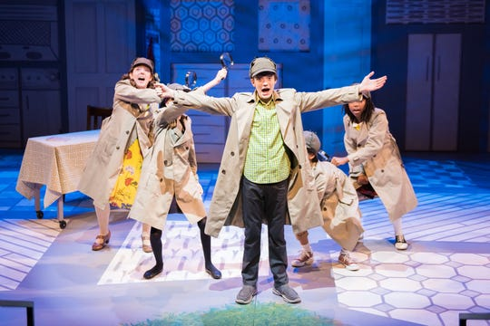 "Elyse Edelman (left), Seth Hoffman (center) and cast perform in the First Stage musical ""Nate the Great"" through Nov. 11 at the Marcus Center."