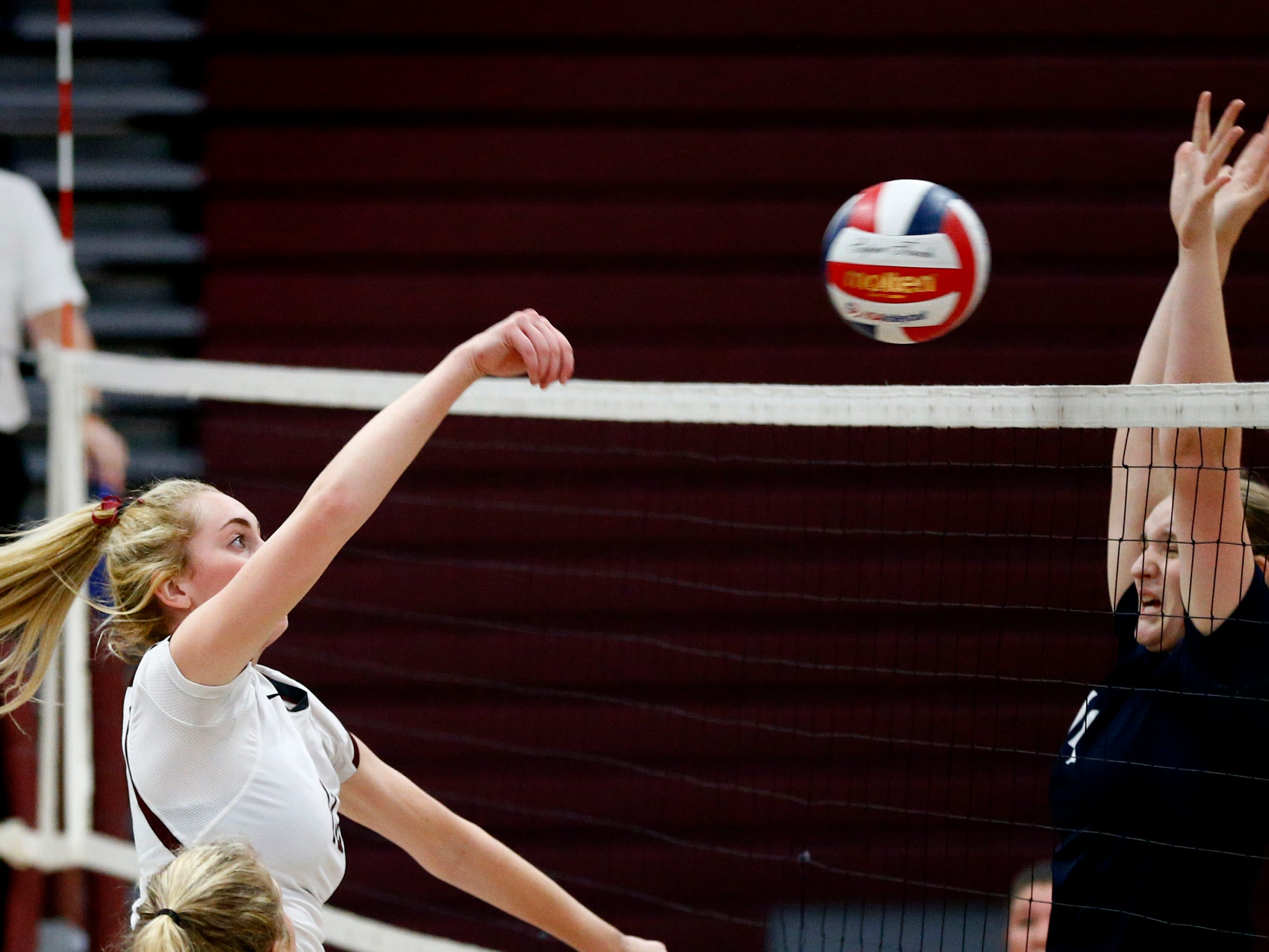 Menomonee Falls' Maddie McGraw drives the ball at Brookfield East at home on Oct. 11.