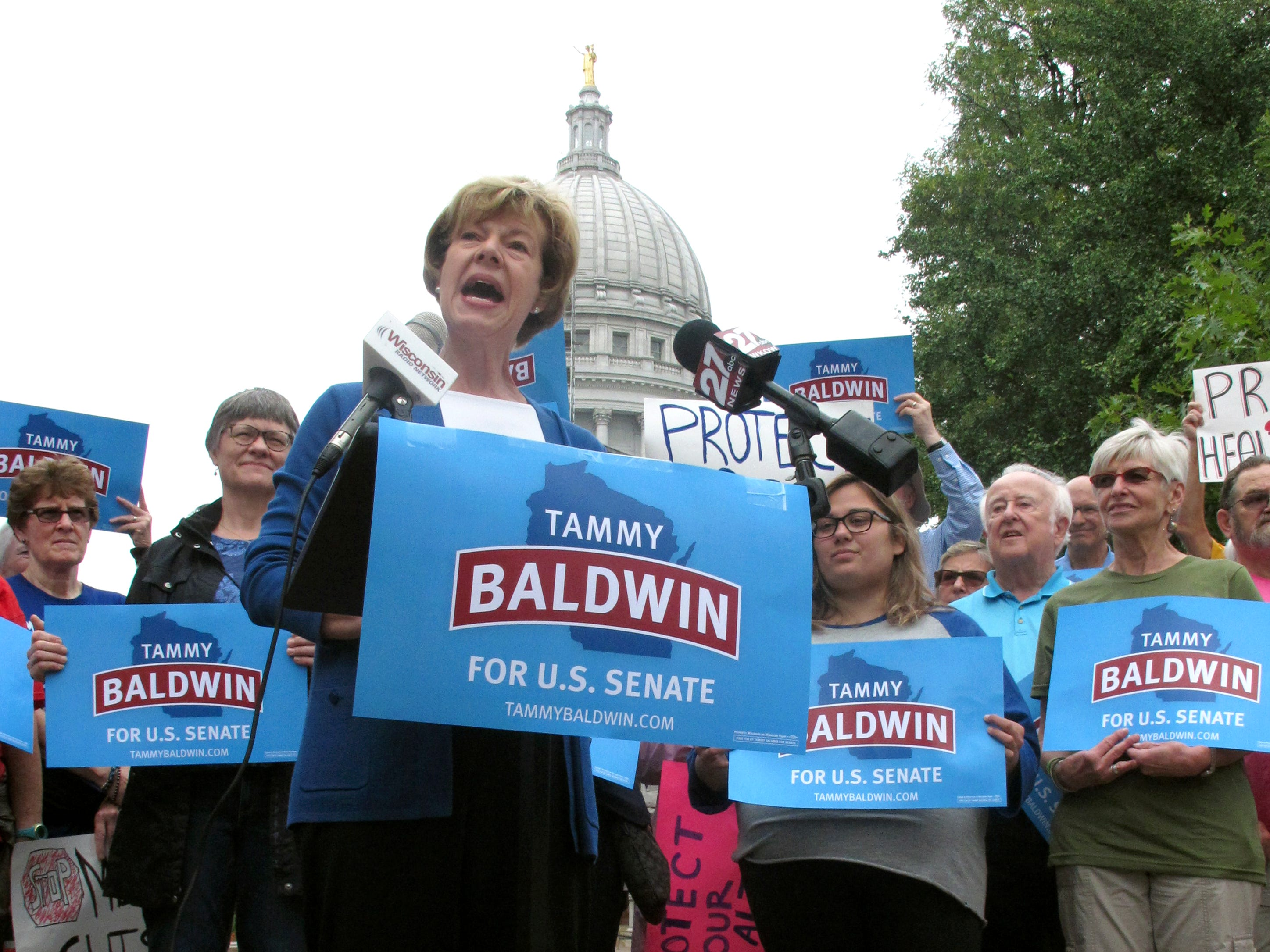 U.S. Sen. Tammy Baldwin, D-Wis., speaks to supporters and talks about her support for the national health care law before encouraging early voting Sept. 20.