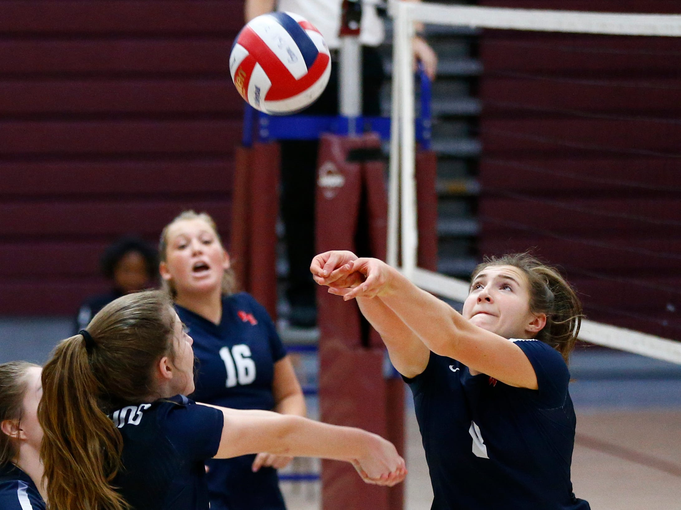Brookfield East's Riley Kindt bumps the ball at Menomonee Falls on Oct. 11.