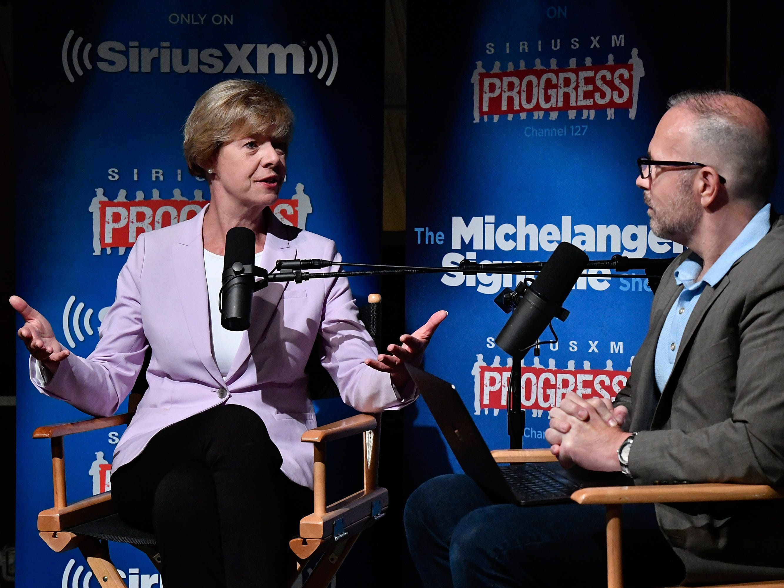 "Sen. Tammy Baldwin talks with SiriusXM host Michelangelo Signorile on ""SiriusXM Progress"" during a town hall-style event on Aug. 22 in Washington, D.C."
