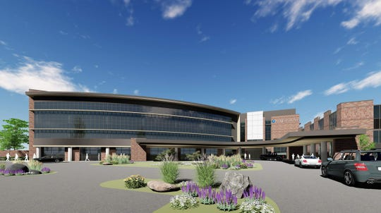 A new hospital on Mukwonago's ProHealth Care medical campus will feature a three-story glass façade in the front. The hospital is expected to open in early 2020.