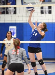 Cotter's Afton Massey hits against Flippin on Thursday night.