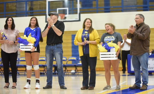 Kyra Pinn and manager Shelby Lake were honored Thursday night on Senior Night as the only seniors on the Lady Bomber volleyball roster.