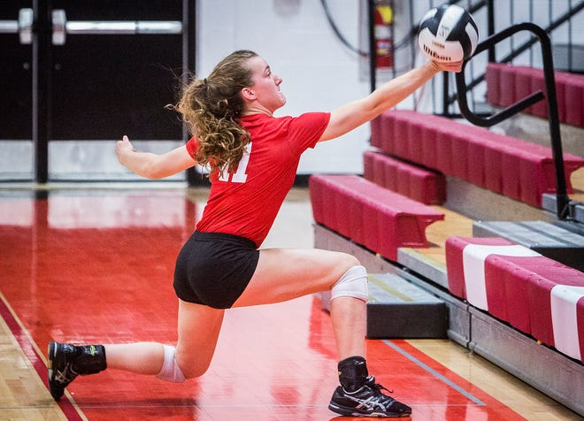 FILE -- Jay County's Natalie Miles passes against Burris during their sectional at Wapahani High School on Oct. 11, 2018.
