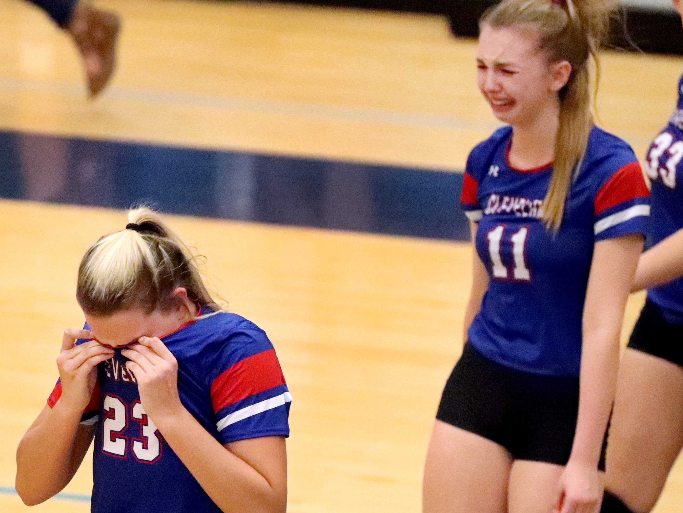 Cleveland player react to losing the Class AAA sectional game to Siegel on Thursday, Oct. 11, 2018.