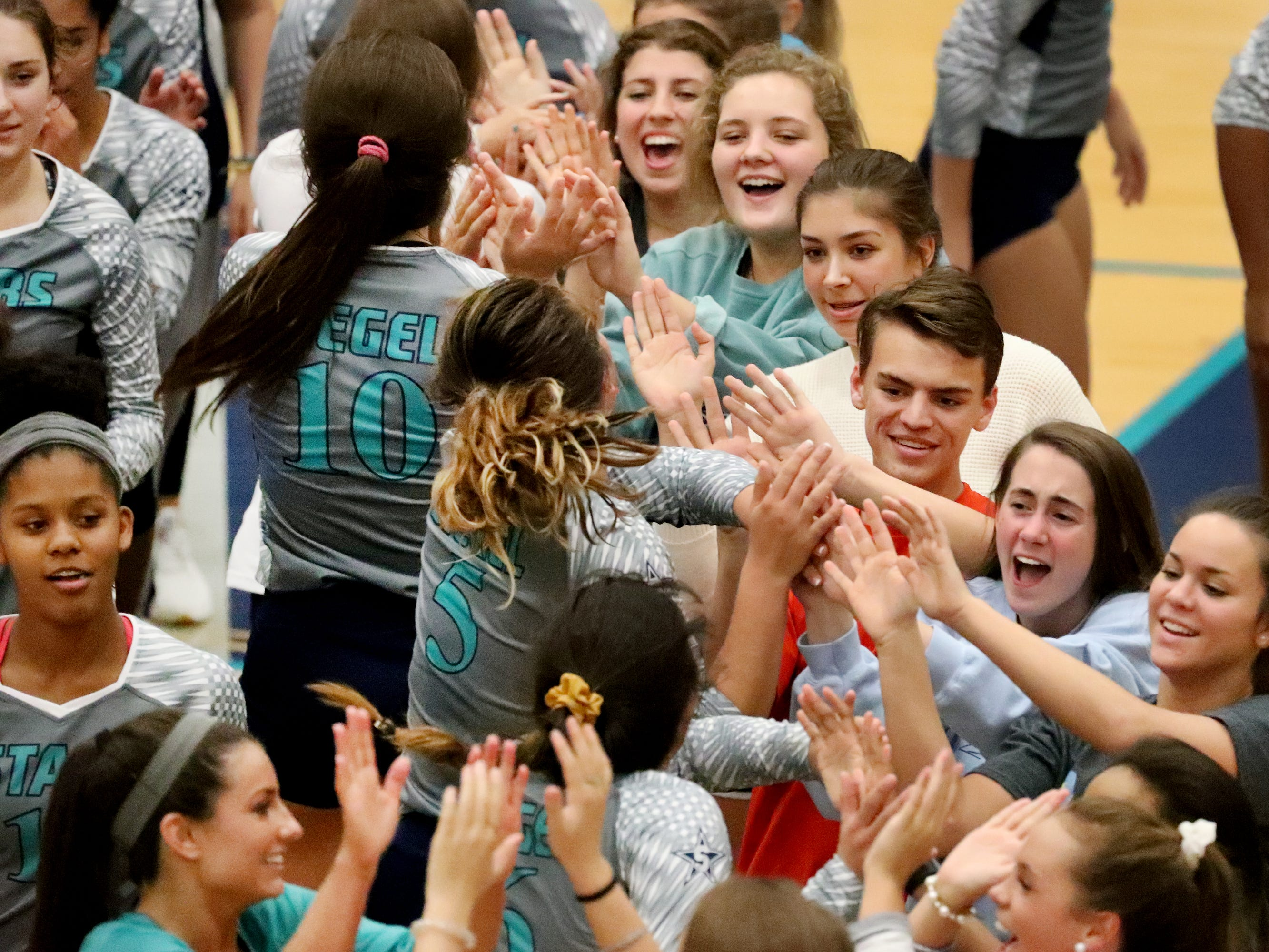 Siegel celebrates beating Cleveland in the Class AAA sectional Thursday, Oct. 11, 2018, to advance them to the State Championship tournament.
