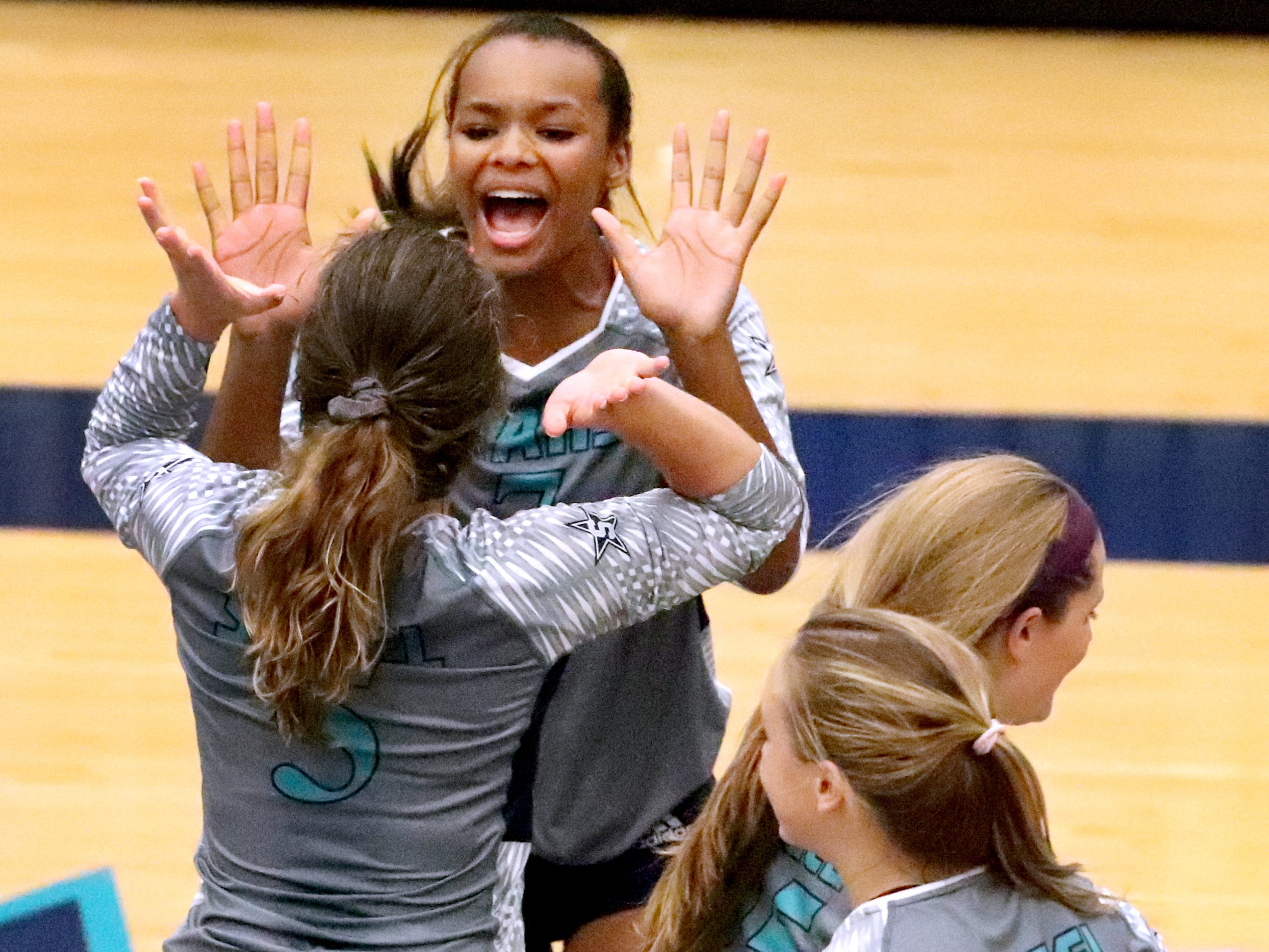 Siegel celebrates a point over Cleveland in the Class AAA sectional Thursday, Oct. 11, 2018, at Siegel.