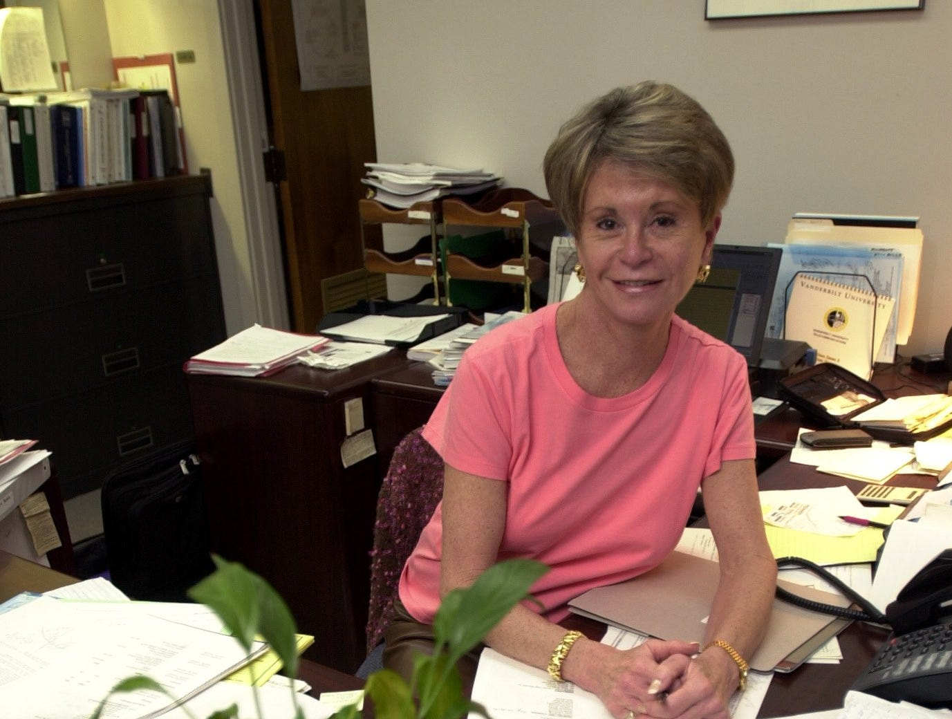 Colleen Conway-Welch, dean of Vanderbilt University's School of Nursing and founder of the International Nursing Coalition for Mass Casualty Education is shown at her office on Tuesday, March 19, 2002 in Nashville, Tenn. The program, which she started with private funding in March 2001, has received a lot of government interest since Sept. 11 as it trains nurses how to treat mass casualties, especially those resulting from bioterrorism. (AP Photo/Christopher Berkey)