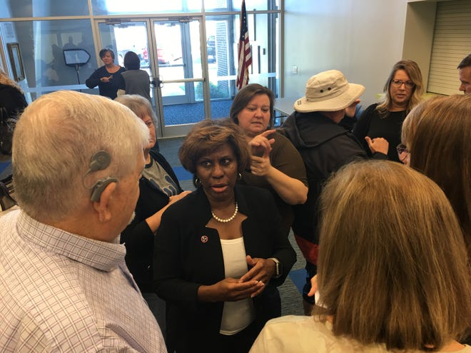 Davidson County Property Assessor Vivian Wilhoite answers questions about property valuations at Bridges for the Deaf and Hard of Hearing on Friday.