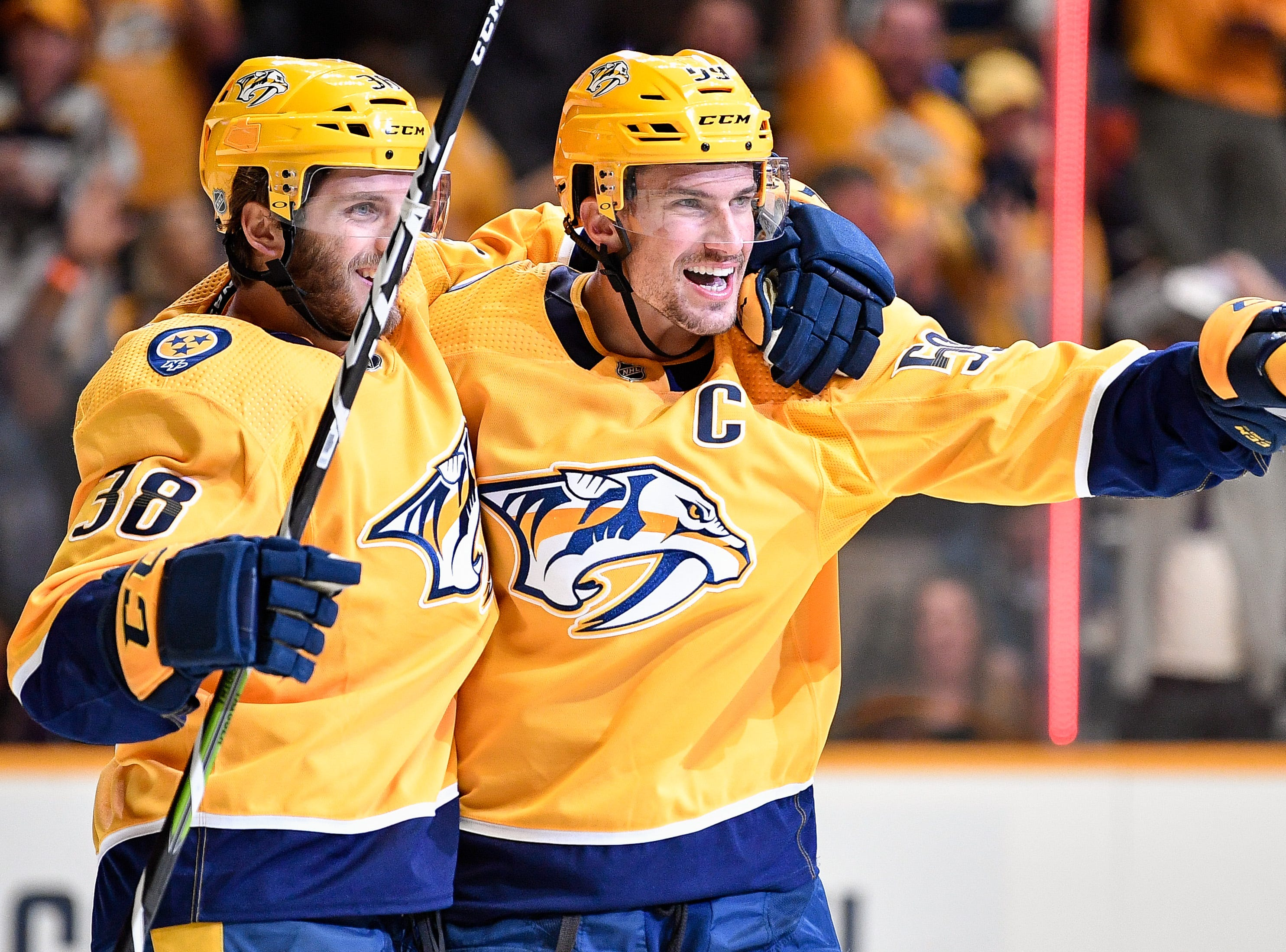 Oct. 11: Predators 3, Jets 0: Nashville Predators defenseman Roman Josi (59) celebrates his goal against the Winnipeg Jets with right wing Ryan Hartman (38) during the third period at Bridgestone Arena in Nashville, Tenn., Thursday, Oct. 11, 2018.