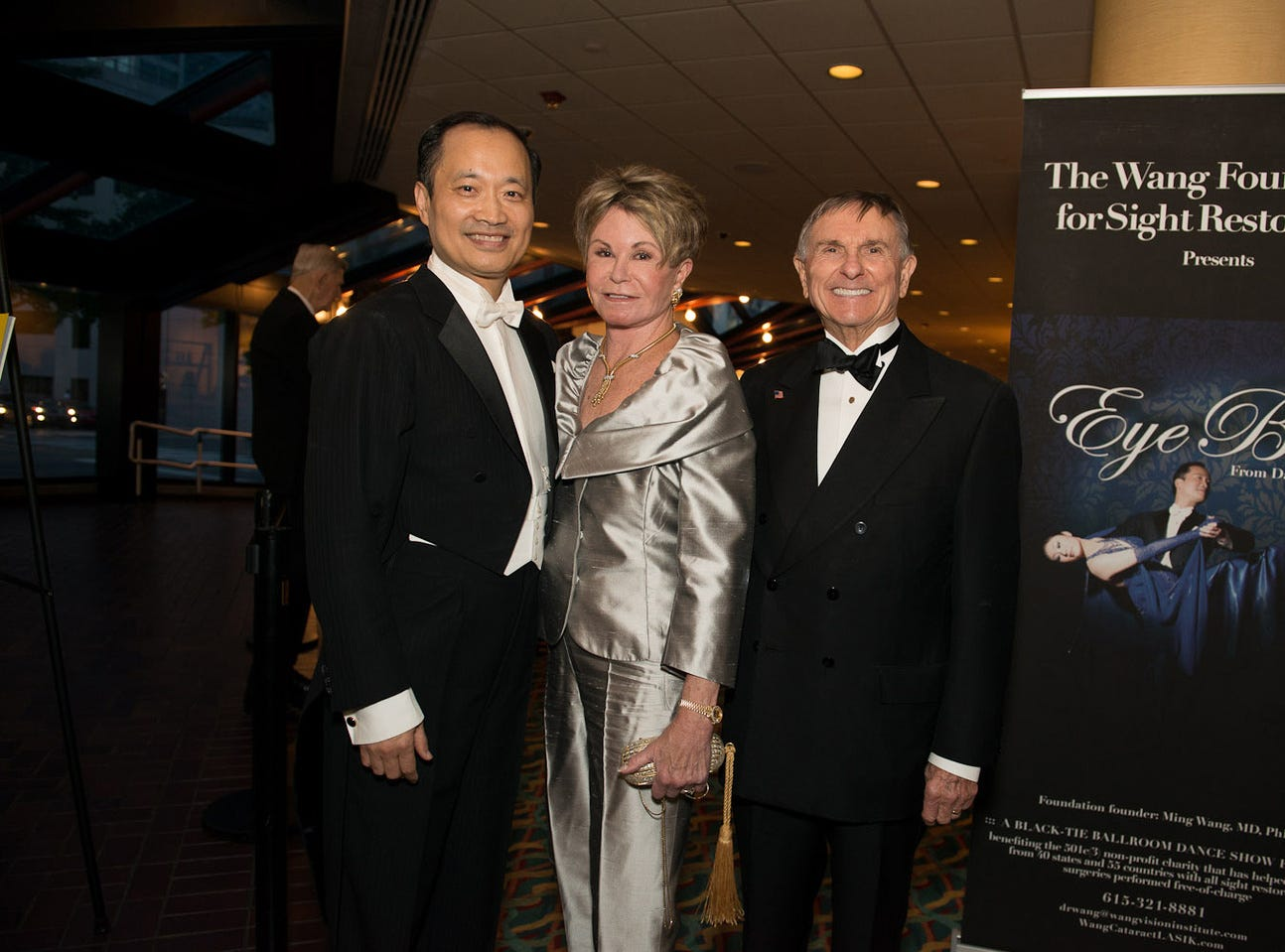 Dr. Wang, left, Colleen Conway-Welch and Ted Welch at the EyeBall, a benefit for The Wang Foundation, held at the Renaissance Hotel.