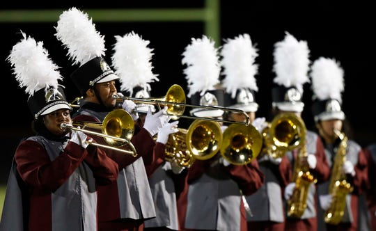 Members of the Maplewood band perform during halftime of their game against Nolensville Thursday, Oct. 11, 2018, in Nashville, Tenn.
