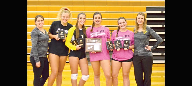 FHS Volleyball Team at Districts (l-r) Assistant Coach Sharon White, Anastasia Bierly - All Tournament Player, Dani Tidwell - All District and All Tournament Player, Maddy Simmons -All District Player, Callie Viau- All District and All Tournament Player, and Head Coach Amanda Franson.
