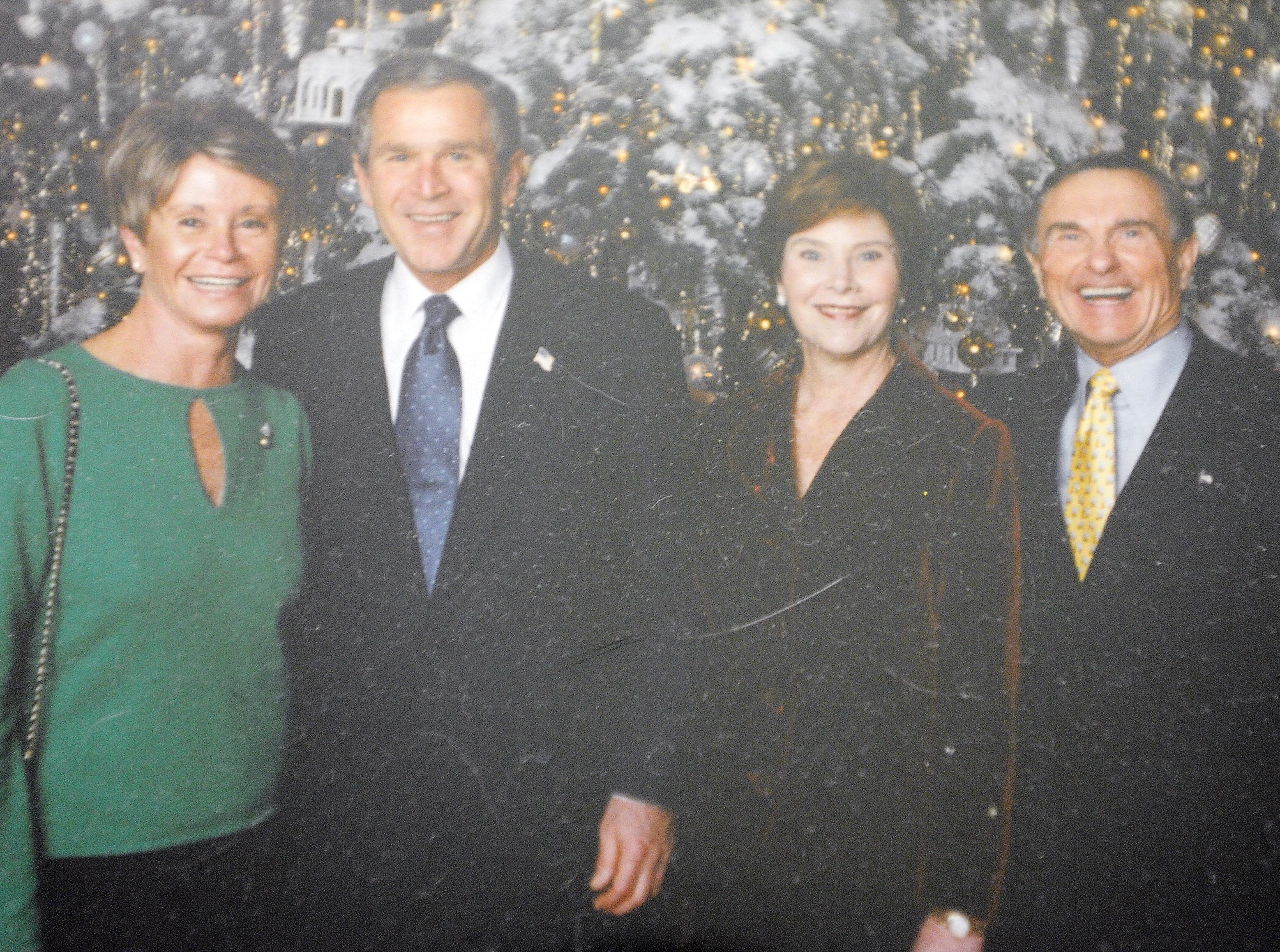 Colleen Conway-Welch, President and Laura Bush and Ted Welch in a family picture.  Submitted by family