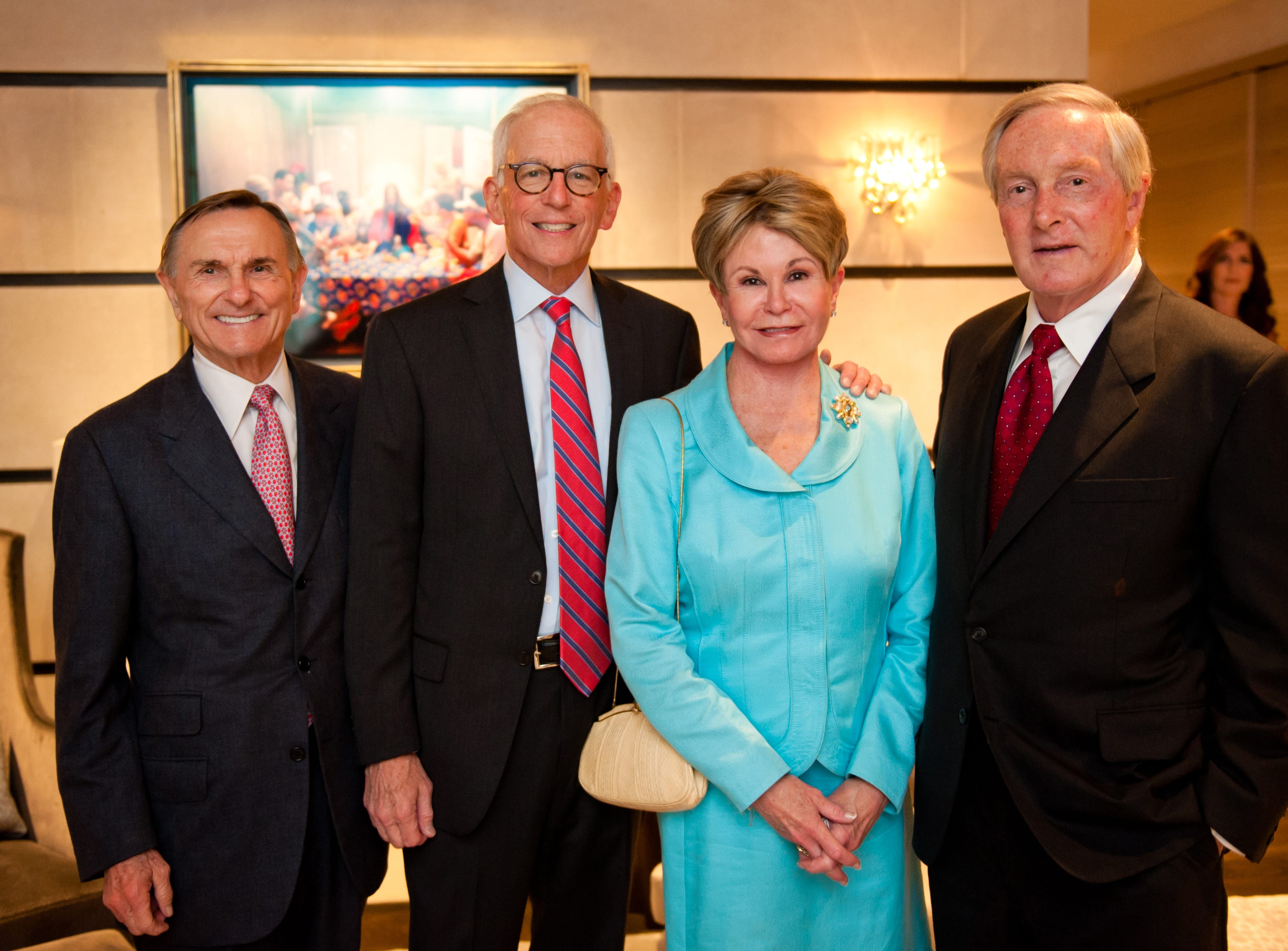 Ted Welch, left, Steve Riven, Colleen Conway Welch and Tommy Frist at the Frist Gala Patrons' Party held at the home of Jennifer and Billy Frist.