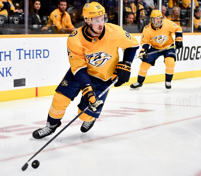 Predators center Ryan Johansen (92) has four points in his past two games.
