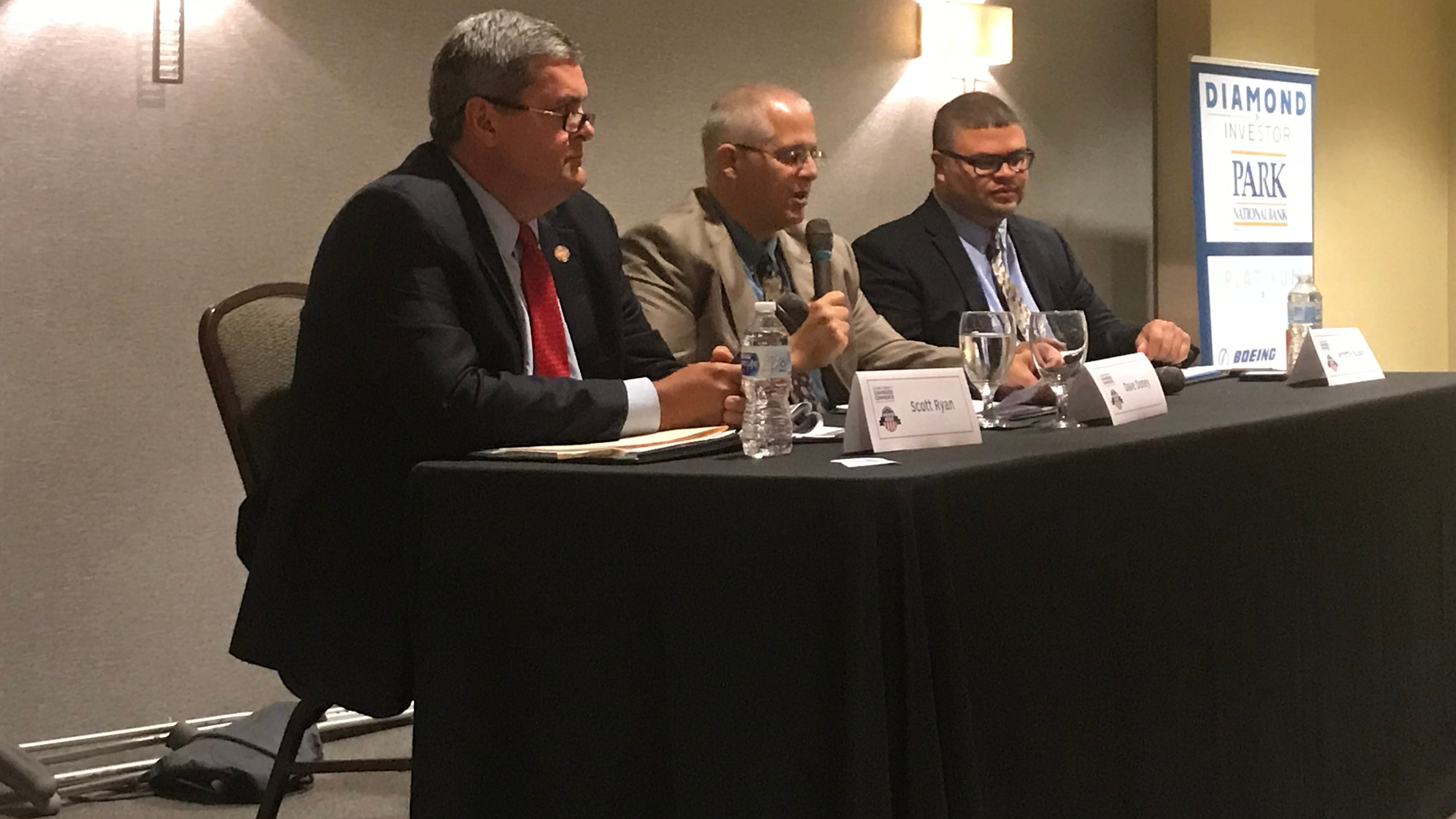 Candidates spar on Issue 1, courthouse lights at Licking County debate