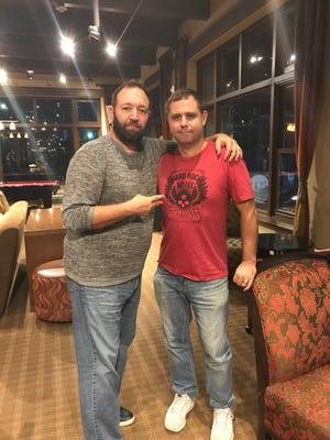 """Mike Roman (right), pictured here with """"New Theory"""" podcast host Tom La Vecchia, has only eaten pizza for dinner since he was four years old."""