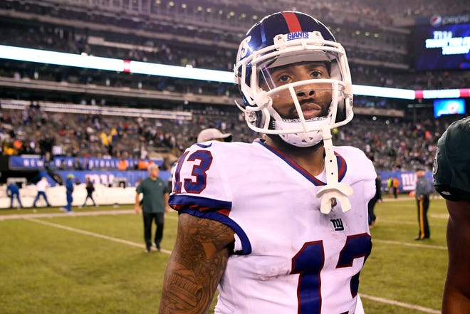 New York Giants wide receiver Odell Beckham Jr. (13) walks off the field after the Giants' 34-13 loss to the Philadelphia Eagles on Thursday, Oct. 11, 2018, in East Rutherford.