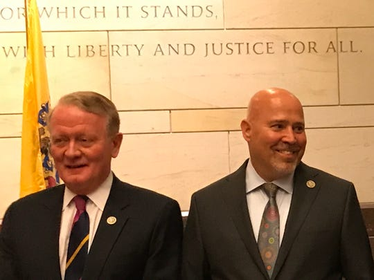 Republican Reps. Leonard Lance, left, of Clinton Township and Tom MacArthur of Toms River attend a New Jersey State Society reception in the U.S. Capitol on July 19, 2017.