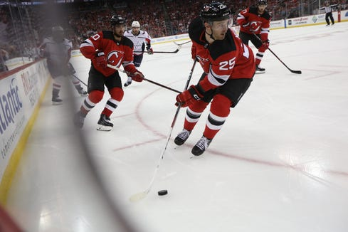 Mirco Mueller is shown during the third period of the Devils 6-0 victory over the Capitals. Thursday, October 11, 2018
