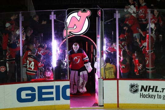 Keith Kinkaid gets ready to step onto the ice before the game. Thursday, October 11, 2018