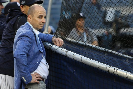 General Manager of the Yankees, Brian Cashman watches batting practice. Tuesday, October 9, 2018