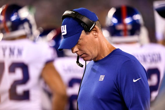 New York Giants head coach Pat Shurmur on the sideline in the first half. The New York Giants face the Philadelphia Eagles on Thursday, Oct. 11, 2018, in East Rutherford.