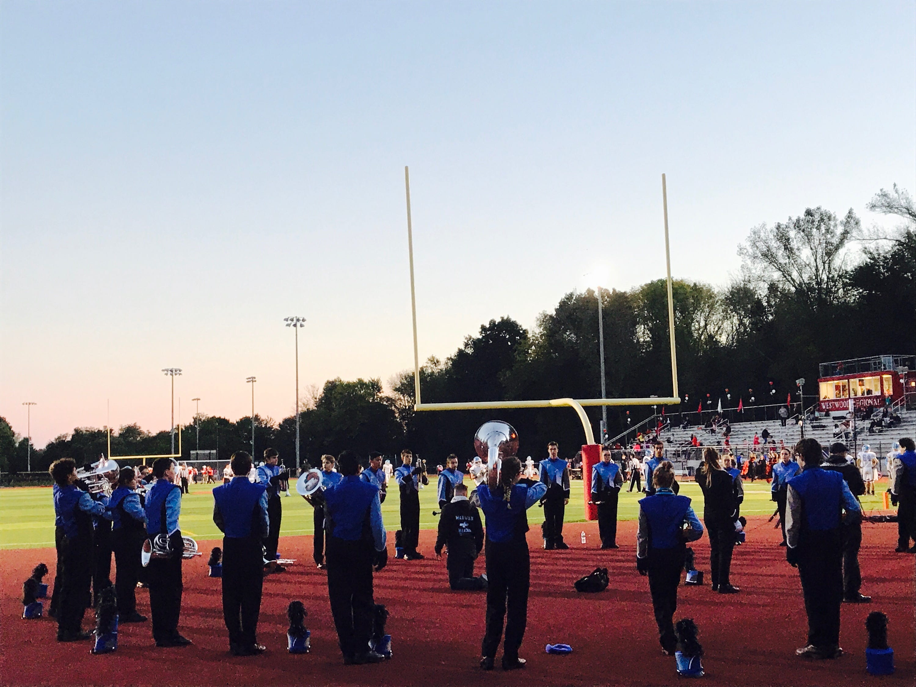 The Mahwah band before game at Westwood.