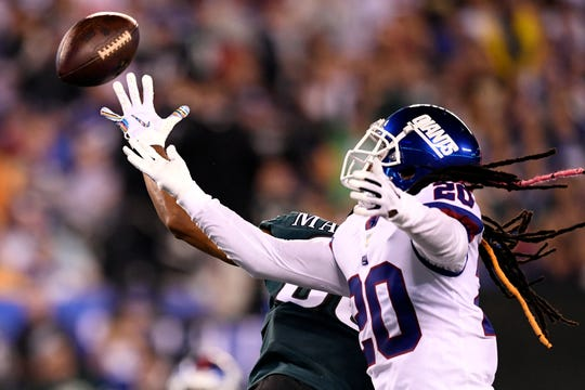 New York Giants cornerback Janoris Jenkins (20) defends Philadelphia Eagles wide receiver Jordan Matthews (80) in the first half. The New York Giants face the Philadelphia Eagles on Thursday, Oct. 11, 2018, in East Rutherford.