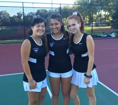 Glen Rock singles players  (left to right): Emma Mangino, Maya Doyle, Allie Eisenberg