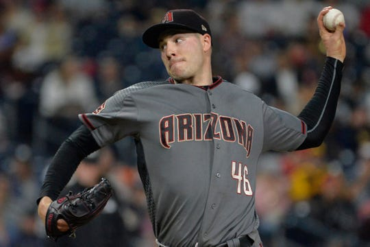 Sep 28, 2018; San Diego, CA, USA; Arizona Diamondbacks starting pitcher Patrick Corbin (46) pitches during the fifth inning against the San Diego Padres at Petco Park.