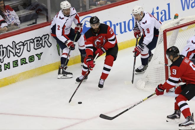 Kyle Palmieri, of the Devils, is shown seconds before he scored the first of his two goals in the first period. Thursday, October 11, 2018