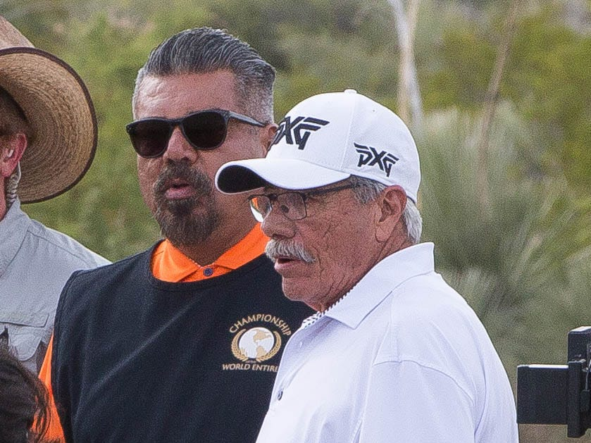 "Edward James Olmos, right, and George Lopez between takes during shooting for ""Walking with Herb"" at Red Hawk Golf Club, Thursday October 11, 2018."