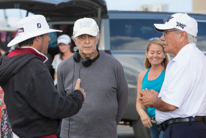 "Ross Marks, left, and Mark Medoff, center, talk with Edward James Olmos, between takes during shooting for ""Walking With Herb"" at Red Hawk Golf Club, Tuesday October 9, 2018."