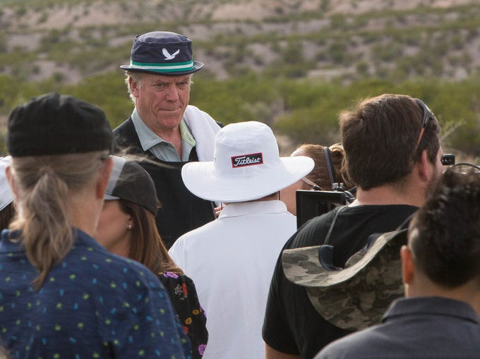 "Actor Christopher McDonald, center, speaking with director Ross Marks, in white hat, filming a scene for ""Walking with Herb""on Thursday October 11, 2018 at Red Hawk Golf Club."