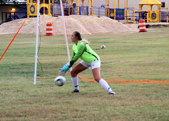 Carlsbad goalie Patti Oliver works on her attacking angles during Thursday's practice. In the first three district games for Carlsbad, Oliver has 25 saves and allowed zero goals in 280 minutes of play.